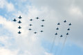 Military jets in 100 formation Stock Photo