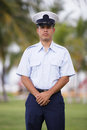 Military man at ease stock photo of a posing in uniform Royalty Free Stock Image