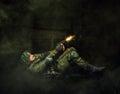Military man soldier shooting of handgun dark mist background Royalty Free Stock Images