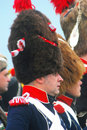 Military men wearing fur hats portrait unknown soldiers at borodino historical reenactment battle at its th anniversary on Stock Photography