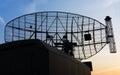 Military mobile radar station silhouette Royalty Free Stock Image