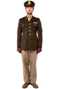 Military officer in attention position full length image of army man standing Royalty Free Stock Photography