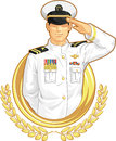 Military officer in salute gesture a vector image of a giving drawn cartoon style this vector is very good for design that need Stock Photos