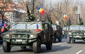 Military parade cars on a of the romanian army for romania s national day december in bucharest romania Royalty Free Stock Photography
