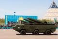Military parade on the day of the kazakh army astana kahastan may Stock Photo