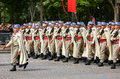 Military parade Defile during the ceremonial of french national day, Champs Elysee avenue. Royalty Free Stock Photo