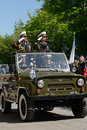 Military parade in sevastopol ukraine may vice admirals youry ilyin left and alexander fedotenkov russia right review the troops Royalty Free Stock Photography