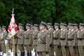 Military parade warsaw poland may polish soldiers line up for a Stock Image