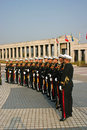 Military personnel south korea view of a line of soldiers from in seoul Stock Photos