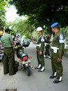 Military police caught violating army discipline in the city of solo central java indonesia Stock Photo