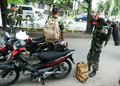 Military police caught violating army discipline in the city of solo central java indonesia Stock Photography