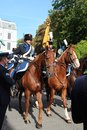 Military police on horses during the Prince day Parade in The Hague Royalty Free Stock Photo