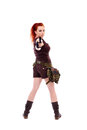 Military redhead beautiful young lady woman with gun holster and outfit isolated on white background Royalty Free Stock Photos