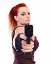 Military redhead beautiful young lady woman with gun holster and outfit isolated on white background Stock Image