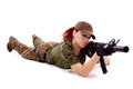 Military redhead beautiful young lady woman with gun holster and outfit on white background Royalty Free Stock Images