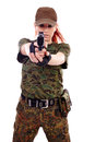 Military redhead beautiful young lady woman with gun and outfit isolated on white background Royalty Free Stock Photos
