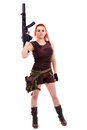 Military redhead beautiful young lady woman with machinegun holster and outfit isolated on white background Royalty Free Stock Images