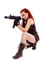 Military redhead beautiful young lady woman with machinegun holster and outfit isolated on white background Stock Images