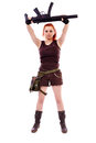 Military redhead beautiful young lady woman with machinegun holster and outfit isolated on white background Stock Photography