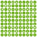 100 military resources icons hexagon green Royalty Free Stock Photo