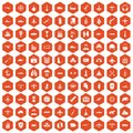100 military resources icons hexagon orange Royalty Free Stock Photo