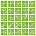 100 military resources icons set grunge green Royalty Free Stock Photo