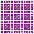 100 military resources icons set grunge purple Royalty Free Stock Photo