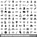 100 military resources icons set, simple style Royalty Free Stock Photo