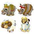 Military rhinoceros, sheep and monkey cosmonaut