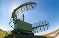Military russian radar station against blue sky Royalty Free Stock Images