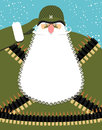 Military Santa Claus. Old Soldier With Beard And Mustache.