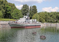 Military ships and canon on Bow Hill Vistory Park Moscow Royalty Free Stock Photo