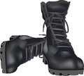 Military shoes amphibians amphibious with reinforced sole for protection black Royalty Free Stock Photography