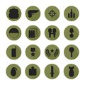 Military silhouette pictogram and war icons set