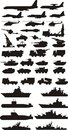 Military silhouettes mashine plane and boats Royalty Free Stock Photography