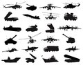 Military silhouettes set detailed weapon vector on separate layers Royalty Free Stock Photography