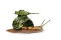 Military Snail-tank On A White...