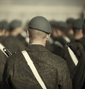 Military soldiers line up on the parade selective focus Stock Photography