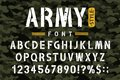 Military stencil font on camouflage background. Rough and grungy stencil alphabet with numbers in retro army style Royalty Free Stock Photo
