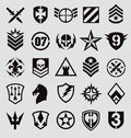 Military symbols icon set on gray Royalty Free Stock Photo