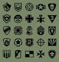 Military symbols icon set on green Royalty Free Stock Photo