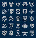 Military symbols icon set on navy blue Royalty Free Stock Photo