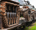 Military tanks close trains carrying outdoors Royalty Free Stock Photo