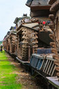 Military tanks close trains carrying outdoors Royalty Free Stock Images