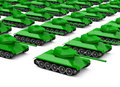 The military tanks a crowd of isolated on white background Stock Photography