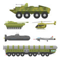 Military technic army war transport fighting industry technic armor defense vector collection