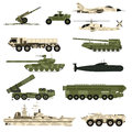 Military technic icon set and armor tanks flat vector illustration. Royalty Free Stock Photo