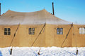 Military tent with frozen windows Royalty Free Stock Photo