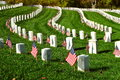 Military tombstones with American flags Royalty Free Stock Photo