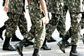 Military troops marching Royalty Free Stock Photo